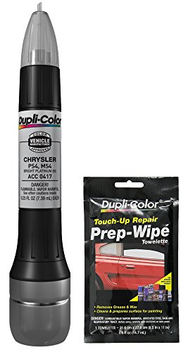 Price comparison product image Dupli-Color ACC0417 Metallic Bright Platinum Exact-Match Scratch Fix All-in-1 Touch-Up Paint for Chrysler Vehicles (PS4,  MS4) Bundle with Prep Wipe Towelette (2 Items)
