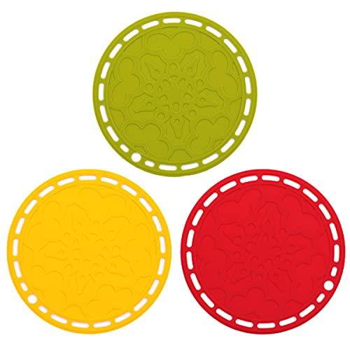Juego de 3 alfombrillas de silicona antideslizantes resistentes al calor, flexibles y duraderas para colocar ollas calientes, almohadillas, cocina y comedor (rojo, verde, naranja)