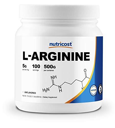 Nutricost L-Arginine (500 Grams) - Pure L-Arginine Powder - 5000mg Per Serving; 100 Servings