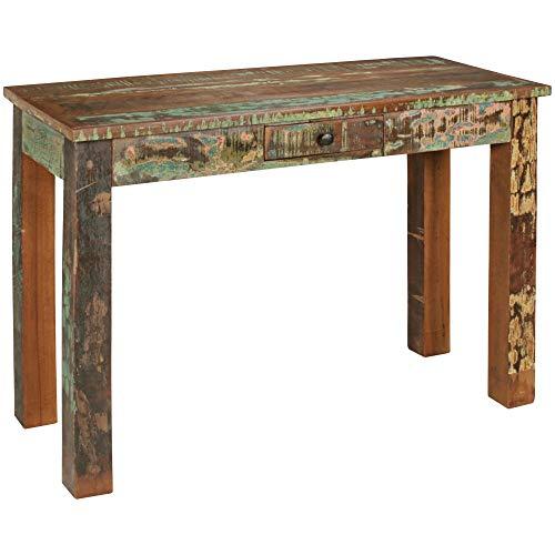 WOHNLING Konsolentisch Kalkutta 120 x 50 x 84 cm , Massivholz Schreibtisch mit Schubalde , Anrichte Schlafzimmer Shabby-Chic , Wohnzimmer Konsole , Flur - Gang Tisch Schmal