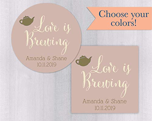 Love Is Brewing wedding sticker (#096-SS)