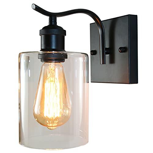 Lámpara de pared de vidrio HOXIYA, aplique de pared de 1 luz, lámpara de pared interior negra para baño, sala de estar, dormitorio y casa de campo