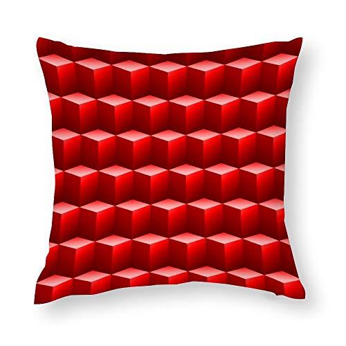 Red Cubes 3D Throw Pillow Covers Case Cushion Pillowcase with Hidden Zipper Closure for Sofa Home Decor 24 x 24 Inches