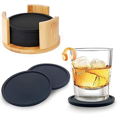 YAOYIN Untersetzer Gläser Silikon - 8er Rund Getränkeuntersetzer Schwarz, Tischuntersetzer Glas für Tisch und Bar Getränke Bier Glasuntersetzer Küche Bar Deko, mit Modernen Bambus Behälter