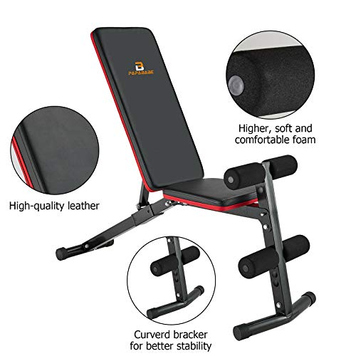 papababe Weight Bench, Workout Bench with Upgraded Wider Backrest for Bench Press Full Body Workout