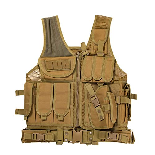 Jipemtra Tactical MOLLE Airsoft Vest Adjustable Paintball Combat Training Vest Detachable for Hunting Mountaineering Outdoors (Tan)