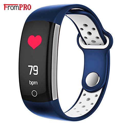 Fitness Armband mit Pulsmesser, Wasserdicht IP68 Pulsuhr Fitness Tracker Farbbildschirm Aktivitätstracker Fitness Uhr Schrittzähler Schlafmonitor mit Blutdruckmesser für Damen Herren Anruf (BLAU)