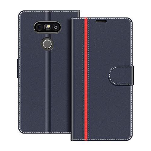 COODIO Custodia per LG G5, Custodia in Pelle LG G5, Cover a Libro LG G5 Magnetica Portafoglio per LG G5 Cover, Blu Scuro Rosso