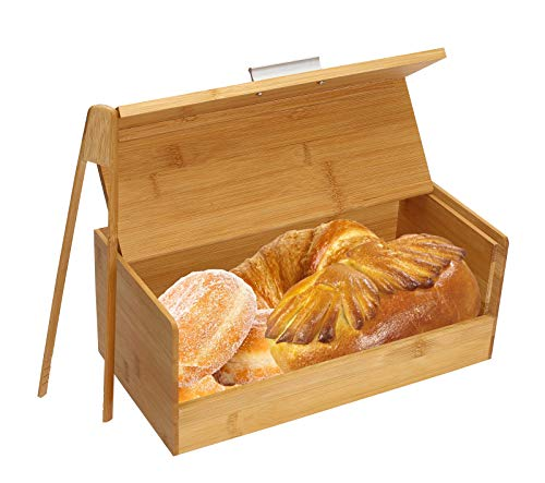 Bamboo Bread Box,Bread Bins for Kitchen Countertop Natural Wooden Storage Bins with Bread Clip