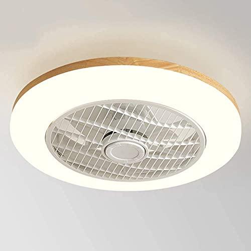 Luz del ventilador de techo, Ventilador de techo de madera con control remoto, velocidad de viento ajustable y atenuación, luz de ventilador de techo ultra tranquilo, luz de techo regulable de velocid