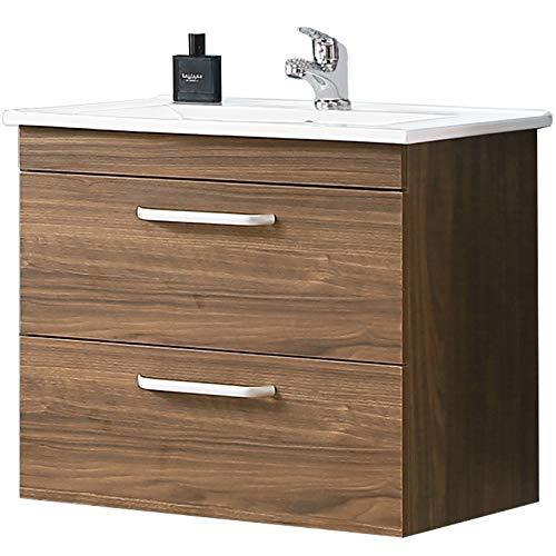 Aica Sanitär Waschtisch mit Unterschrank 60 cm Milan 01 Hängeschrank Badmöbel Set 2× Schubladen Gäste WC Walnuss