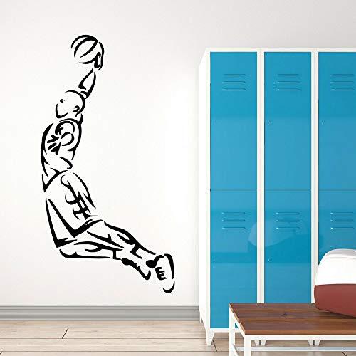 Jugando baloncesto calcomanías de pared jugadores juegos deportivos pelota saltando mural vinilo ventana pegatinas niños niños dormitorio estadio arte decoración