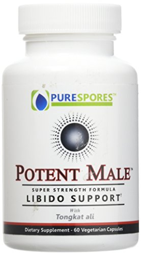 POTENT MALE- Powerful Natural Testosterone Supplement - Strength and Libido Enhancer for Men - Super Concentrated Tongkat Ali with Horny Goat Weed, Cordyceps, Gingko and L-Arginine. Zero fillers
