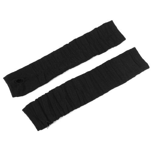 Allegra K élastique côtelé Sans doigts Longs Gants Noirs Mitaines Paire pour Femme - Noir, Femme, Taille Unique