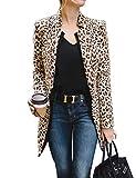 Frecicialo Chaqueta Blazers Larga con Estampado de Leopardo Blazer de Manga Larga Slim Fit Entallado de Media Temporada