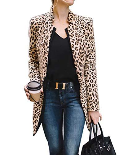 cappotto donna maculato Frecoccialo Giacca Slim Fit Manica Lunga Stampa Leopardata Giacca Slim Fit Mezza Stagione