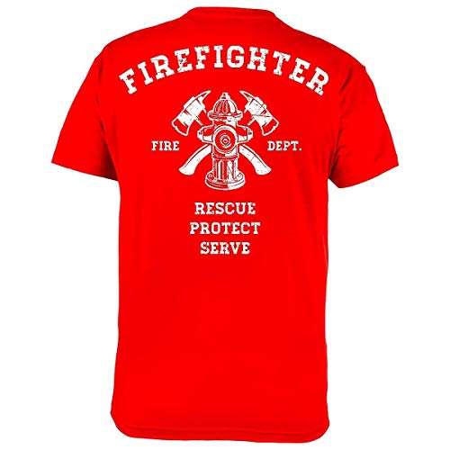 Rule Out Hombre Bombero Camiseta. Firefighter. Rescue. Protect. Serve. Casual Wear (Talla Xlarge)