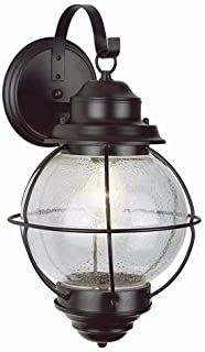 Trans Globe Lighting Trans Globe Imports 69904 RBZ Transitional One Light Wall Lantern from Catalina Collection Dark Finish, 11.00 inches, Rustic Bronze