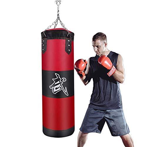 Saco de Boxeo - JanTeelGO Boxing Bag SIN LLENAR con Cadena Saco Boxeo Adulto con Gancho de Techo para agarrar | MMA | Kickboxing | Muay Thai | BJJ | Kárate (Rojo, 100 x 30 cm)