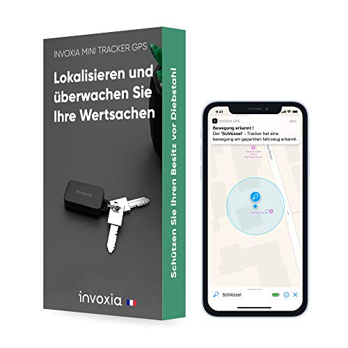 Invoxia Mini-GPS-Tracker - Wasserdichter GPS-Tracker mit Echtzeit-Diebstahlalarm - bis zu 3 Monate Akkulaufzeit - inklusive 3-Jahres-Abo- klein und leicht - Diebstahlschutz für Schlüssel, Boot