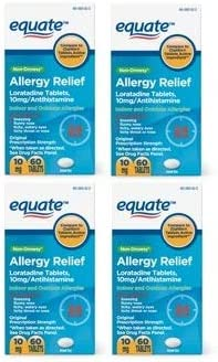 Equate 24 Hour Non Drowsy Allergy Relief Loratadine Tablets 10 mg 60 Count Pack of 4 product image