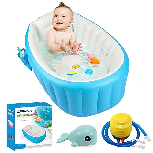 Baby Inflatable Bathtub with Air Pump,Chrider Portable Infant Toddler Bathtub Non Slip Bathing Tub Travel Bathtub Mini Air Swimming Pool Kids Thick...