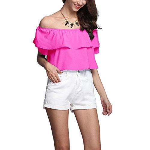 Fanmay Elegante camiseta de verano para mujer, manga de loto, cuello con volantes, elegante Rosa Tallaúnica