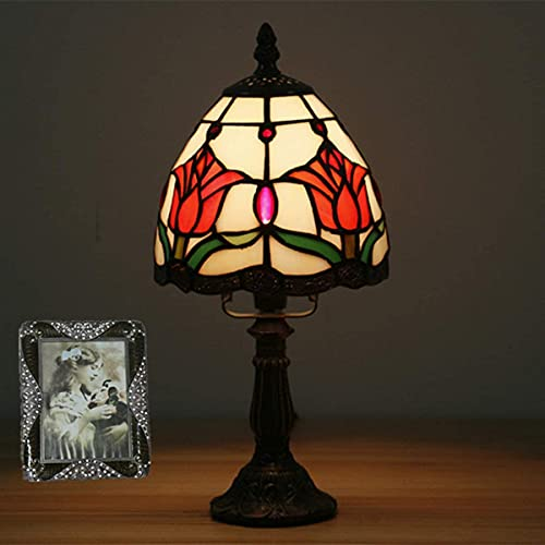 MUZIDP Lámpara de Mesa para niños Vintage Linda Mini Noche luz de Cristal de Cristal Manchado para Dormitorio para Dormir, 6 Pulgadas, Rosa (Color : Tulip)