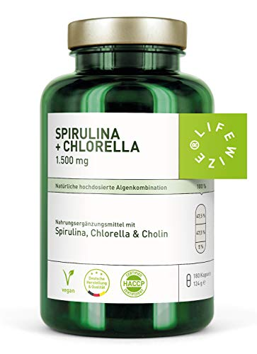 LifeWize® Chlorella + Spirulina + Cholin Algen Superfood Komplex - 180 Kapseln Hochdosiert - Aus Deutschland, Vegan & Ohne Zusatzstoffe