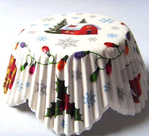 Christmas Tree Cupcake Liners Muffin Paper Wrappers Baking Cups 100 pcs,Standard Size 2x1.25inch