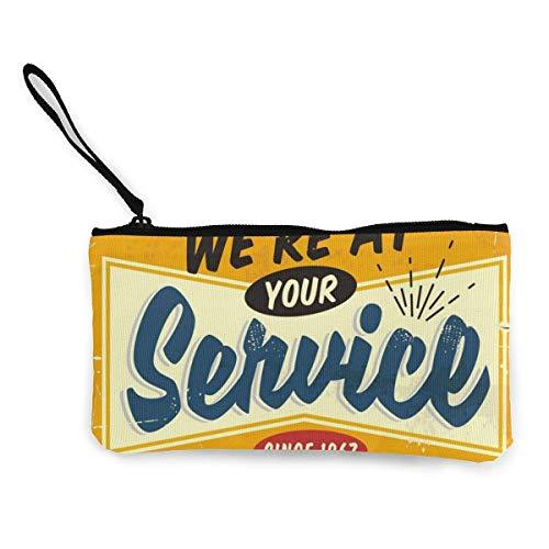 Estamos a su servicio Diseño de letreros de tienda retro Monedero de lona con de linda con cremallera Bolsa de maquillaje con correa para la muñeca Bolsa de teléfono en efectivo 8.5 X 4.5 pulgadas