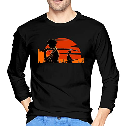 QDGERWGY Mugen and Jin Samurai Champloo - Camiseta de manga larga para hombre con cuello redondo y manga larga, Negro, 42