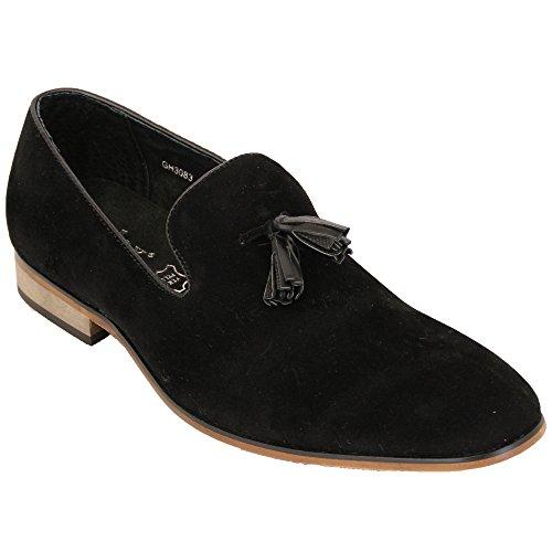 Hommes Mocassins Cuir Suédé Look Chaussures Bateau À Enfiler Italian Gland Habillé Mode Neuve - Noir - GH3083, EU 43