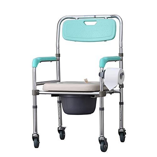 HJJKERLCBP Pflegebadestuhl aus medizinischem Stahl zum Zusammenklappen eines Toilettenstuhls für Erwachsene