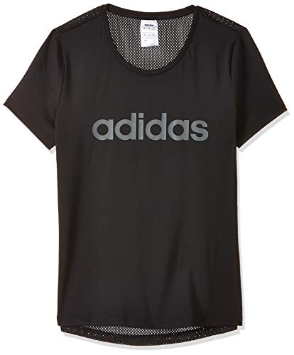 adidas Damen D2M Solid T-shirt, Black/White, M