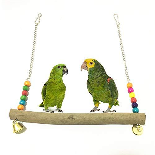 Whiie891203 Juguete para Loros de pájaros, Perchero de Madera para Perca, Jaula para Colgar, Juguete para Masticar para periquitos de cacatúas, conuras, guacamayos, Loros, Finches- Color al Azar