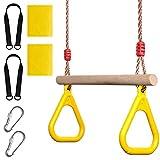 [ケンコバハンズ]ぶら下がり ブランコ お家 体操 トレーニング に 最適 子ども 用 吊り輪 遊具 (イエロー)