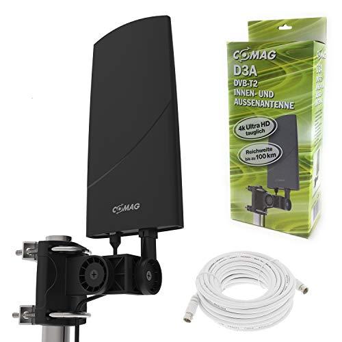 netshop 25 Digitale DVB-T2 Antenne Außenantenne mit Verstärker 30dB, extra Abschirmung und LTE Filter + 6m Anschlusskabel, aktiv HD 4K tauglich mit Wandhalter und Masthalter