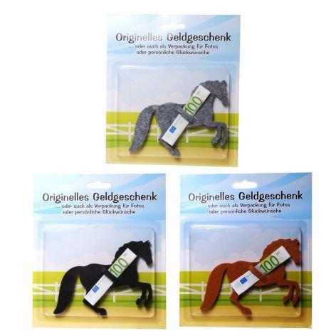 Geldgeschenk Originell Filz Pferd 3 Farben sortiert 12x12cm einzeln in Verpackung - Liefermenge 3 Stück