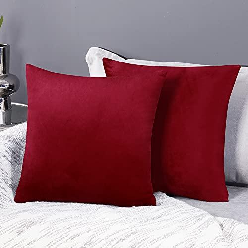 Deconovo Fundas para Cojines de Almohada del Sofá Cubierta Suave Decorativa Protector para Hogar 2 Piezas 40 x 40 cm Rojo