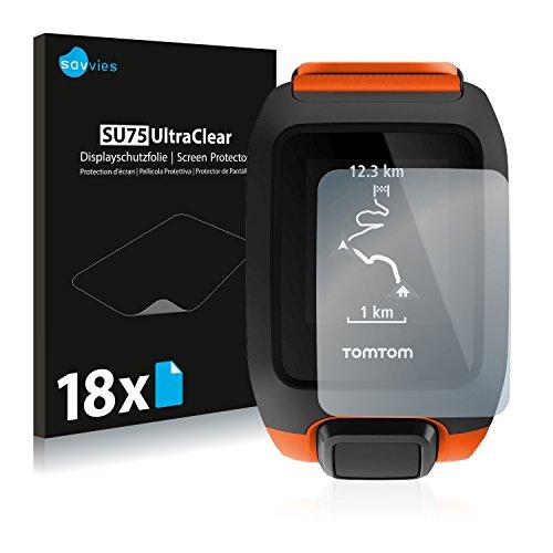 Savvies 18x Schutzfolie kompatibel mit Tomtom Adventurer Bildschirmschutz-Folie Ultra-transparent