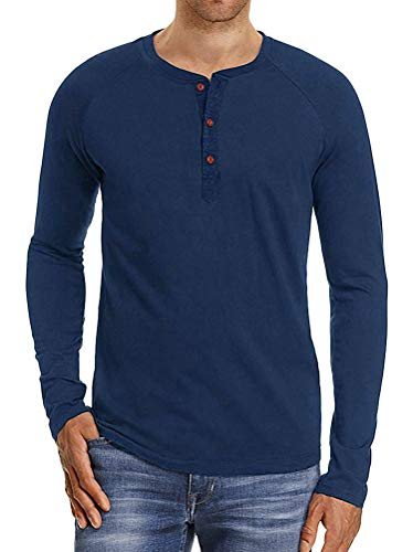 Minetom Homme T-Shirt Col Tunisien Manches Longues Tee Shirts Chic Chemisier Casual Slim Fit Blouse Basique Hauts Tops Grande Taille A Bleu XL