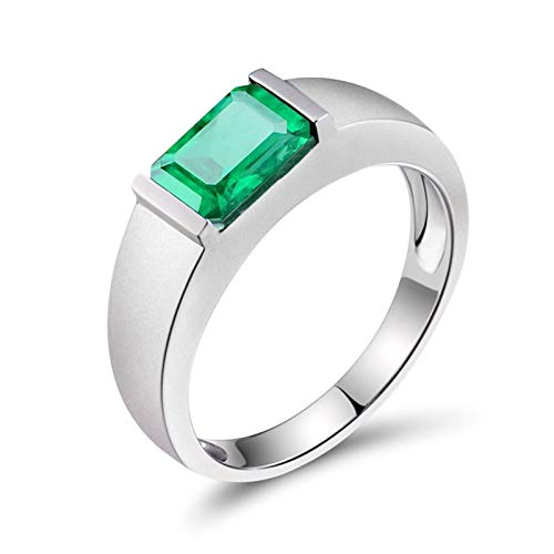 AtHomeShop Real Gold Collection, 18K White Gold Rings, Solitaire Ring with Sparkling Rectangular Emerald Marriage Proposal Ring for New Year Gift, Polished, Nickel-Free White Gold