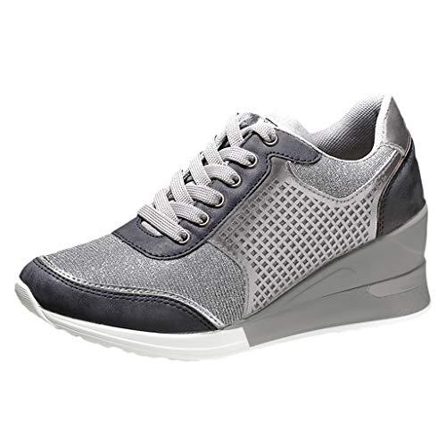 Xmiral Höhe Erhöhende Wanderschuhe Jogging-Turnschuhe 6,5 cm Erhöhen Sie Gold Silber Damen Sport Laufschuhe Athletic Mädchen Schuhe (39,Grau)
