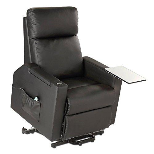 maxVitalis Fernsehsessel - Relaxsessel - Komfortsessel mit Aufstehhilfe, Wärmefunktion & Massage || ausklappbarer Seitentisch || inkl. Seitenfach (Schwarz)
