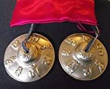Tibetan Buddhist Hand Bells embossed with the Mantra of the Buddha of...