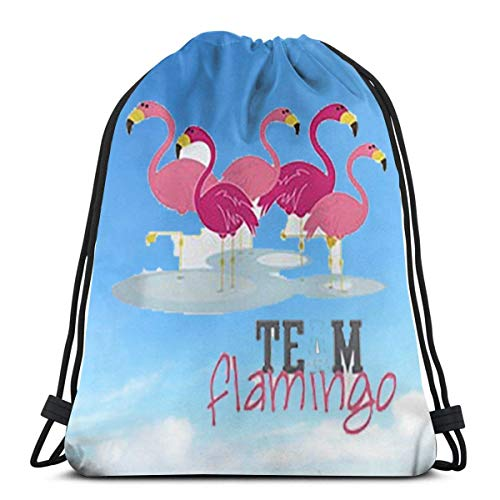 BFGTH sac de cordon Flamingo Drawstring Bags Gym Bag Gymsack Backpack Sport Sackpack,for Hiking Team Swimming Training Yoga Gym Outdoor Exercise