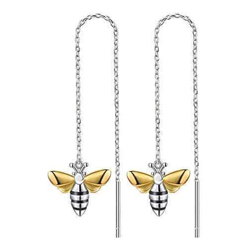 Lotus Fun Orecchini in argento Sterling S925, creativi a miele, a forma di ape e albero di Natale, fatti a mano, gioielli per donne e ragazze e Argento, colore: argento, cod. LFJA