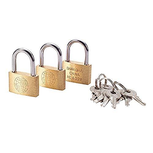 MroMax 南京錠 セキュリティロック パッドロック 金属手錠 安全ツール 荷物ケース キャビネット ショーケース 3キー付き 真鍮素材 ゴールドトーン 銅製 17*25mm 継承キー 3点