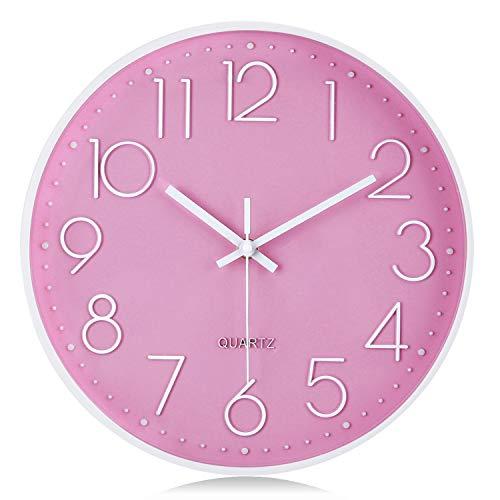 Lafocuse Reloj de Pared Rosa Coral Niñas Silencioso Reloj Cuarzo 3D Grandes Números Moderno para Salon Comedor Dormitorio 30 cm